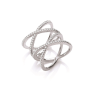 Sterling silver Cubic Zirconia double crossover ring